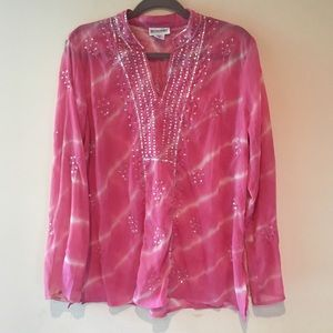 MOTHERHOOD MATERNITY SEQUIN TIE DIE BLOUSE